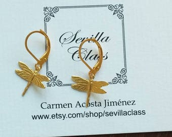 Gilt metal earrings and brass libelulas