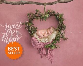 Newborn digital backdrop heart wreath of fresh flowers. Instant download digital background. Hires jpg file