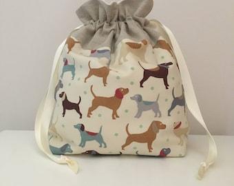 Knitting bag / knitting bags / crochet bag / project bag - Dog