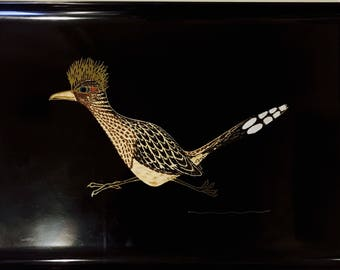 Large Vintage Couroc Tray // Roadrunner Couroc of Monterey Serving Tray // 1970's