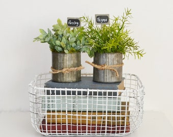 Two Pots Herbs  of Faux Herbs in Galvanized Pots; Herbs with Garden Signs;  Kitchen Decor; Parsley, Sage, Rosemary, Thyme, Mint, and Oregano