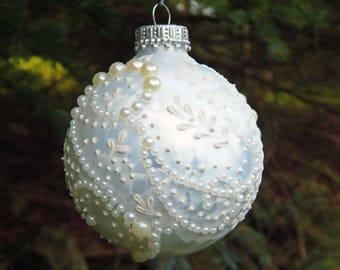 Painted Ornament. Mud Ornament. Handpainted Ornament. White Ornament. Christmas Ornament. Glass Ornament. Holiday Ornament.