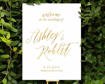 Wedding Welcome Sign, Printable Wedding Sign,  Floral Wedding Sign, Reception Sign, Bohemian Wedding Sign, Custom sign - US_WS0105a