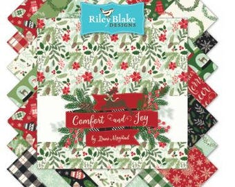 """Comfort & Joy Fabric by Riley Blake; 5"""" square stackers, 42 piece assortment"""