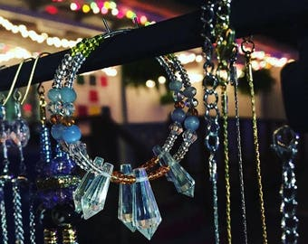 Crystal beaded hoops