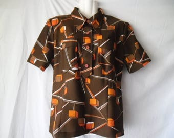 Vintage 70s Hipi Style Colorful Summer Blouse ,Brown Abstract Orange White Print Blouse,Buttons Front Short Sleeves Blouse,Cubes Print Shirt