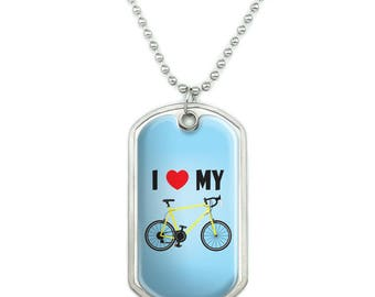 I Love My Bike Road Bicycle Cycling Military Dog Tag Pendant Necklace with Chain