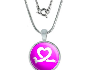 "Dachshund Wiener Dog Love Heart 0.75"" Pendant with Sterling Silver Plated Chain"
