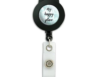 My happy place lanyard retractable reel badge id card holder