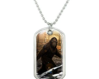 Bigfoot sasquatch walking in the woods military dog tag pendant necklace with chain