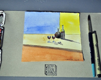 Still Life with wine, 16 x 16 cm, watercolour, spring drawing, original by Marc-M. J. Wolff-Rosary