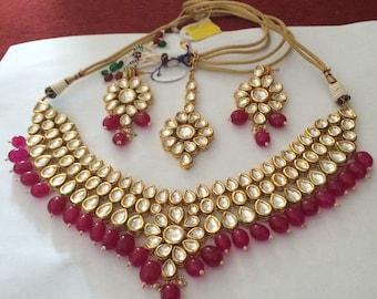 Indian Bollywood KundanGolden bridal Jewelry Set