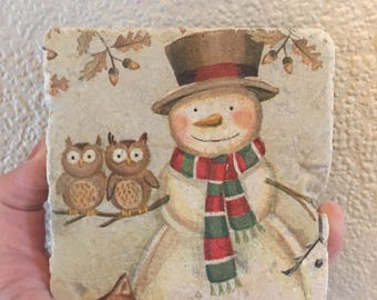 Snowman natural stone coasters
