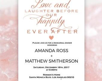 Rose Gold Wedding invitation - Rehearsal dinner invitation printable - Rose Gold - Simple Wedding - Downloadable Wedding #WDH9084LHB