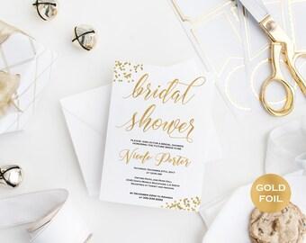 Gold Bridal Shower Invitation - Printable Bridal Shower Invitation - Gold Wedding Bridal Shower- Downloadable wedding
