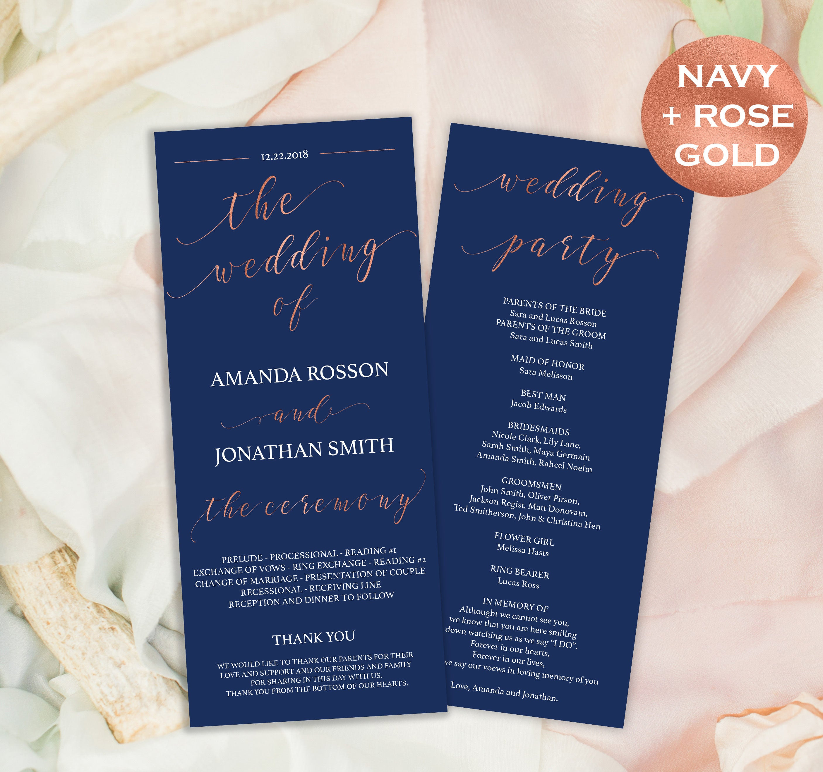 Wedding Programs Instant Download Ceremony Printable