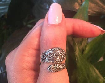 Sterling Silver Spoon Ring-Spoon Ring-Victorian Spoon Ring-Vintage Flower Spoon Ring-Statement Ring-925 Spoon Ring-Thumb Ring-Index Ring
