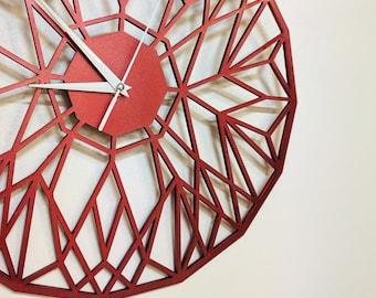 Red Geometric Clock