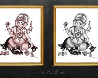 Two Ganesh, Ganesha Statue, Ganesha, Ganesha Prints, Elephant, Elephant Prints, Ganesha Painting, elephant Statue, Ganesh Decor, Ganesh Art