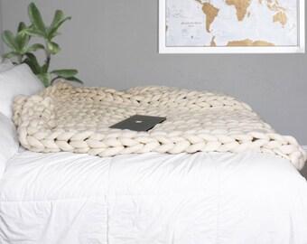 Chunky Knit Blanket, Merino Wool Blanket, Hand Knitted Blanket. 23 Micron Super Chunky Warm Blanket! Christmas Gift!