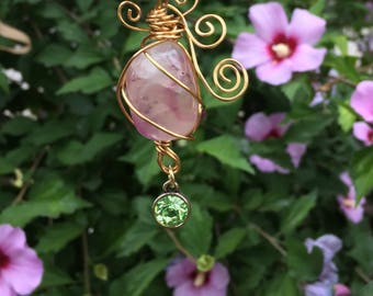 Pink Fluorite Crystal Necklace