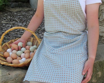 Windmills and Daisies Apron- Saddle and Bright Blue Flower Apron for Ladies and Girls