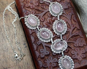 "Rose quartz Necklace,925 sterling silver Necklace ,Rose quartz gemstone Retro,Birthday Girlfriend Gift Necklace 18 1/2"" X919"