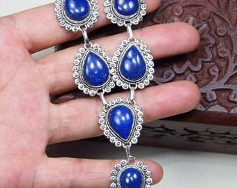 """Lapis lazuli necklace - Lapis lazuli jewelry -925 Sterling silver-lapis necklace - lapis jewelry - deep blue stone necklace 18 1/2"""" X1173"""