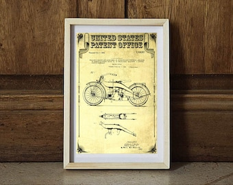 Harley Motorcycle Patent, Patent Print, Wall Decor, Motorcycle Decor, Harley Davidson Art