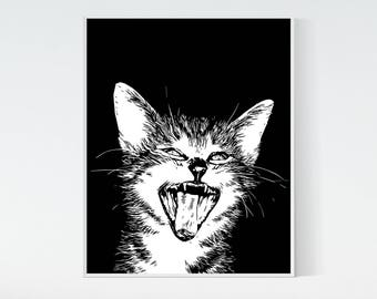 Laughing kitten printable artwork, digital print, cute kitten black and white 8x10 printable, kitten print, instant download