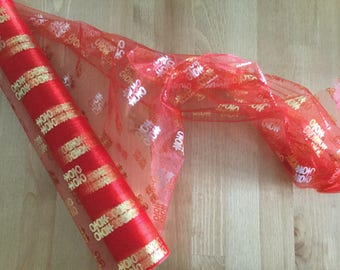 Chinese wedding decor, Double happiness printed tulle, red, one roll