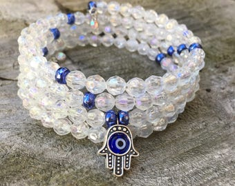 Evil Eye Cuff, Hamsa Wire Wrap Bracelet, Hand of Hamsa Bracelet, Hamsa Cuff, Blue and White Bracelet, Hamsa Bracelet