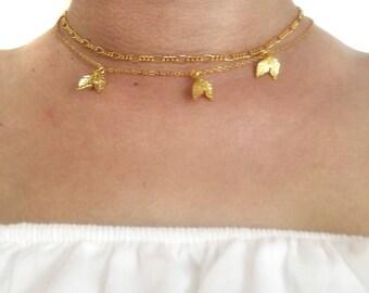Leaf Choker, Leaf Necklace, Gold Leaf Choker, Nature Necklace, Leaf Jewelry, Leaf Accessories, Autumn Necklace, Double Leaf Choker