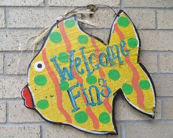 Welcome FINS Fish Welcome Wall Hanger, Coastal, Yellow, Door Hanger, Welcome Sign