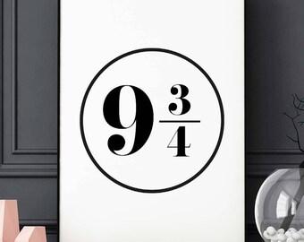 Platform 9 3/4 - Poster - The Hogwarts Express, Harry Potter, Wall Art, Minimalist, Sign