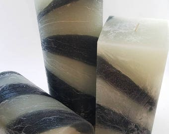 Layered Rustic Black and White Scented Pillar in Clean Linen Fragrance