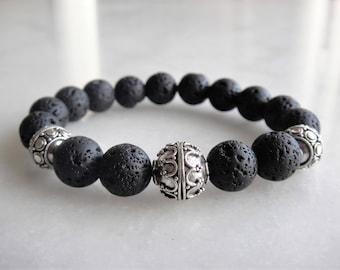 Mens bracelet with 925 sterling silver and lava beads / Lava bracelet lava beaded bracelet silver bracelet men gift lava stone bracelet