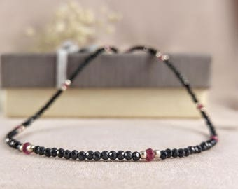 Necklace with spinel & ruby