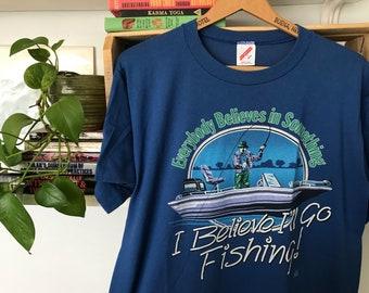 "80's Vintage Fishing T-Shirt // 5050 // 1980s // Graphic Tee // Fisherman // Novelty Shirt // ""Funny"" // Hunter // Outdoorsmen // Camp //"