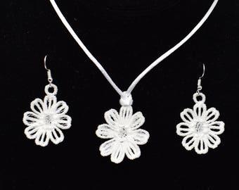 Daisy Pendant and Earrings