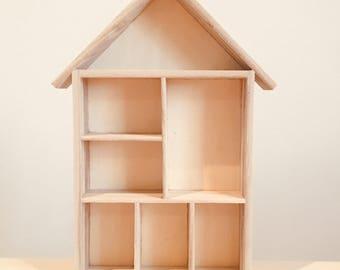 Vide maison de poupée, maison de poupée Peg, Dollhouse inachevé, fournitures d'artisanat, des étagères en bois, jouet maison de poupée, maison de poupée naturelle, maison de poupée Peg
