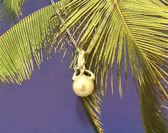 White Pearl Pendant, 14KT White Gold White Round Pearl Pendant W. Diamond, P5137,  Made in Hawaii