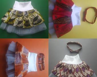 African print girl's tulle skirt 3-9 months