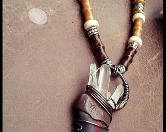 Grizzly Bear Claw Crystal Necklace
