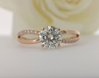 Criss Cross Moissanite Engagement ring with natural diamonds in 14k gold, Bridal Ring,Diamond Alternative engagement ring
