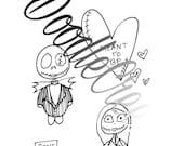 Jack and Sally Voodoo Doll Digital Stamp Set