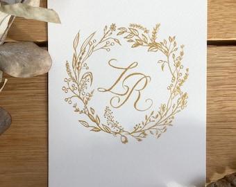 Custom Hand Lettered Crest, Wedding Laurel Monogram, Calligraphy Crest