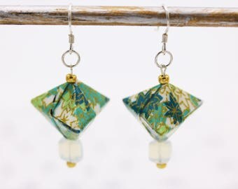 Japanese Origami earrings green silver and Opal
