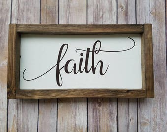 Faith Sign, Framed Sign, Wooden Sign, Wood Sign, Inspiration Sign, Wall Decor, Hand Painted Sign