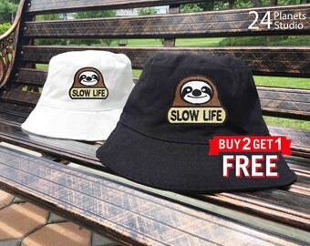 Sloth Slow Life Embroidered Bucket Hat by 24PlanetsStudio